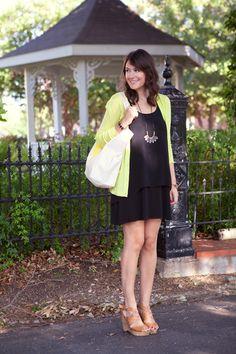 Black dress, colored cardigan, sandals