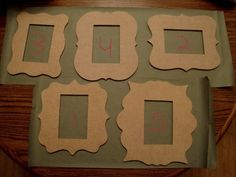 Set of 5 Unfinished Mdf Wood Curvy Frame Cut Outs/Mosaic Bases  $45