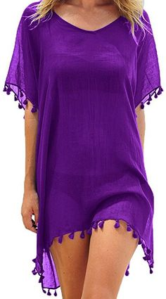 Adreamly Women's Chiffon Bathing Suit Swimwear Tassel Beach Cover up Free Size Purple at Amazon Women's Clothing store: