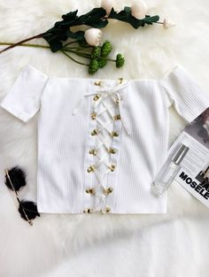 SHARE & Get it FREE   Lace Up Off The Shoulder Cropped Top - WhiteFor Fashion Lovers only:80,000+ Items • New Arrivals Daily Join Zaful: Get YOUR $50 NOW!