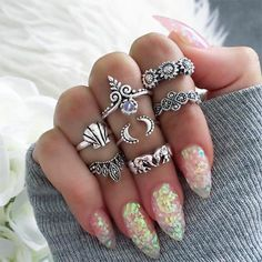 NEW BOHO FESTIVAL MOON STAR  LOVE SET OF 5 SILVER KNUCKLE ASSORTED RINGS UK