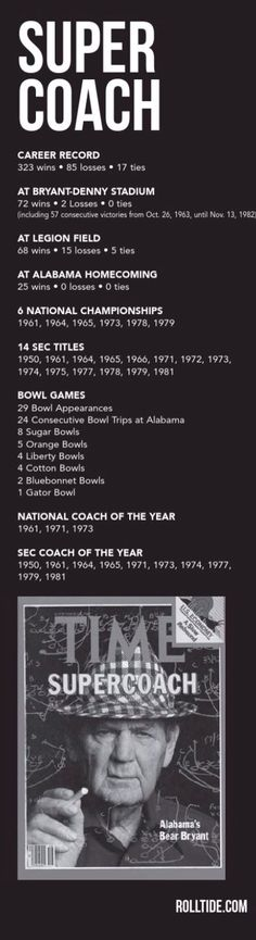 "Bear Bryant ""Super Coach"" profile from the 2015 Alabama Football Media Guide #Alabama #RollTide #BuiltByBama #Bama #BamaNation #CrimsonTide #RTR #Tide #RammerJammer #BearBryant Alabama Football Quotes, College Football Teams, Football Program, Football Coaches, Crimson Tide Football, Alabama Crimson Tide, Paul Bear Bryant, Bama Fever, University Of Alabama"