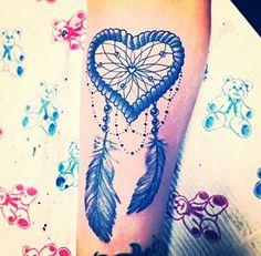 Heart dreamcatcher feather beads tattoo