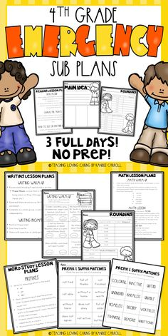 Are you looking for No-Prep, Print and Go emergency substitute plans for grade? This sub packet includes 3 FULL DAYS of sub lesson plans, and engaging substitute teacher ideas. They are perfect for getting your sub binder set up for the first semester Teaching Activities, Teaching Tools, Teaching Resources, Teaching Ideas, Writing Words, Writing Lessons, Upper Elementary Resources, Elementary Schools, School Plan