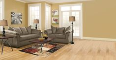 Casual contemporary living room set in Cafe. Sofa and loveseat come in 5 different colors! #home #furniture