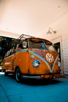 vintage orange vw bus...