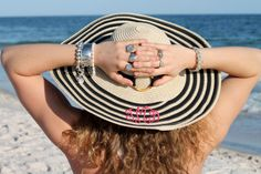 Monogrammed striped sunhat from Initial Outfitters.  Perfect for the beach! $39