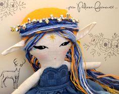 Blue Moon Fairy- OOAK cloth doll; Made to order; fantasy doll, cloth doll, rag doll, fairy doll, pixie doll. elf doll, fairytale
