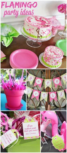 How cute is this flamingo themed first birthday party! See more party ideas at CatchMyParty.com!