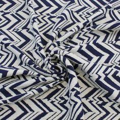 Knit Jacquard Knit Chevron Arrowhead Stretch Cotton Jacquard Knit Fabric Navy Off White