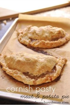 Cornish Pasty (rhymes with nasty) Meat & Potato Pie ~ My family's favorite Christmas dinner ~ My favorite food on earth. We add sliced onions to ours...much more flavorful. (EB)