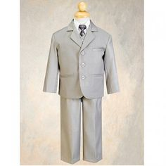 This is a handsome suit for your little boy from Lito.  The 5pc set includes a jacket with matching vest and pants, a white shirt and coordinating tie.  Perfect for any special occasion.