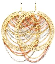 Cute multi layered hoops embellished with chains are perfect for a day of shopping or girls night out. Set the trend with your friends when you rock these earrings. $14.99