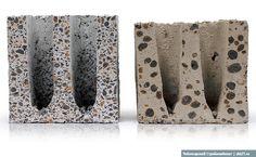 Два керамзитобетонных блока в разрезе: cлева продукция Чебоксарского Стройкомбината, справа блок недобросовестного производителя, который, как видно, пожалел керамзита, а тот, что есть, слишком крупной фракции.