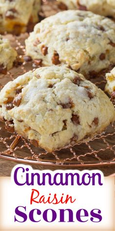 Homemade cinnamon raisin scones are moist and buttery, crumbly on the outside. This best ever scone recipe is tastier than any coffee shop scone. Best Ever Scone Recipe, Easy Desserts, Dessert Recipes, Raisin Scones, Baking Scones, White Chocolate Cranberry Cookies, Raisin Recipes, Homemade Scones, No Yeast Bread