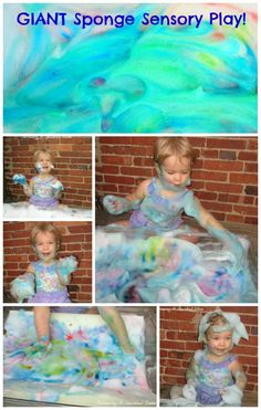 Giant Sponge Sensory Play- SO FUN!  If you have a baby or toddler, you have to try this!