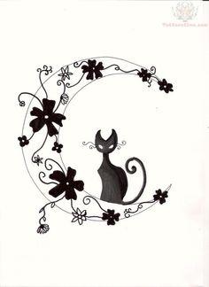 Moon And Cat Tattoo Design Design 600x825 Pixel