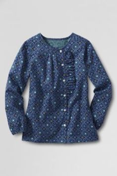 Girls' Long Sleeve Ruffle Placket Woven Top from Lands' End