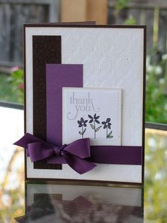 handmade card ... luv the color combo of black and purple on white .. good design with clean lines ...