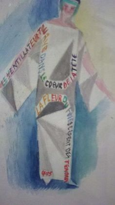 A drawing of a robe-poeme for Tristan Tzara by Sonia Delaunay