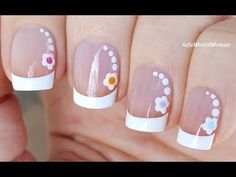 22 Ideas french manicure designs dots flower nails for 2019 White Tip Nails, Glitter French Manicure, French Manicure Designs, Nail Designs, Manicure Colors, Nail Manicure, Diy Nails, Cute Nails, Nail Polish