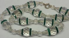 Vintage Antique Art Deco 14k Gold Clasp Cut Crystal & Glass Necklace Czech WOW!!