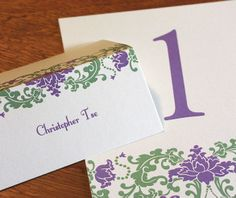 Matching #wedding day items such as table numbers and escort cards.