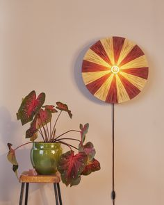 Wall lamp - stripes - raffia - red and nature