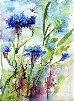 Cornflowers Korn Blumen Watercolor Painting