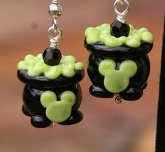 Disney Inspired Halloween Witches Cauldron Mickey Mouse Style SRA Lampwork DeSIGNeR Earrings
