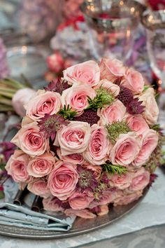 Pink bouquet roses and astrantia - Jamie Aston - Brides-The-Show on Flowerona Rose Wedding, Wedding Flowers, Pink Roses, Pink Flowers, Gloriosa Lily, Wedding Flower Design, Astrantia, Dendrobium Orchids, Pink Bouquet