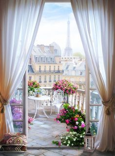 Wall mural Terrace in Paris. Wall mural of a terrace with many flowers in the center of Paris in the background is the famous Eiffel Tower. Paris Wallpaper, Vinyl Wallpaper, Photo Wallpaper, Painting Wallpaper, Beautiful Nature Wallpaper, Beautiful Landscapes, Beautiful Gardens, Poster Xxl, Poster Poster