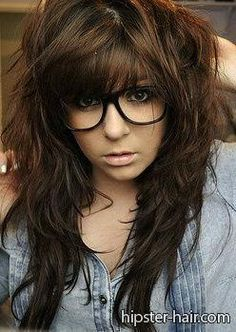 brown, long, bangs, wavy, messy hair at Hipster Hair : Hairstyle Photo Search..... Really all I can say about this picture is that hipster needs to learn about lipstick.