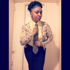 """I be on my suit and tie ish...let me show you a few thangs..."" #ootd #style #fashion #womenwearingties #mycloset #mydaddystie #yellow #animalprint #washandgo #teamnatural #afroliciouswomen #berrycurly #4chairchicks #myhaircrush #happyholidays #vegan #blogger #skinnypants #christmaseve2015"