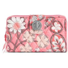 Vera Bradley Turn Lock Wallet in Blush Pink ($49) ❤ liked on Polyvore featuring bags, wallets, blush pink, pink coin purse, red coin purse, red wallet, coin purse wallets and coin purse