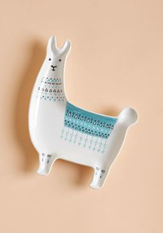 Llama, I'm Coming Home Ceramic Dish - Turn a return to your flat into a true treat by introducing this ceramic dish to your daily routine! Featuring a darling llama silhouette in blue and white hues, this quirky trinket tray assures you always have a cute reason to hoof it home!