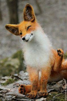 Felted toy fox / Игрушки животные, ручной работы. Заказать За ушком зачесалось). Дарья Теплякова. Ярмарка Мастеров. Сухое валяние, шерсть кардочёс