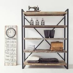 Industrial Bookshelf B 150 cm Metal Wood Selection: 1 x Industrial … by maisonesto Metal Shelves, Shelving, Bookshelves, Bookcase, Metal Wood, Industrial Interiors, Home Living Room, Decoration, Interior Inspiration
