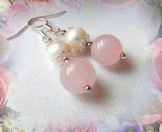 Pink Earrings - Natural Jade Dangle Earrings - Shabby Chic - Handmade Fashion Jewellery