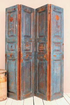 Vintage Panels Indian Screen Salvaged Doors Wood Room Divider Door Headboard Jodhpur Blue Warm Industrial Farm Chic on Etsy, $539.00
