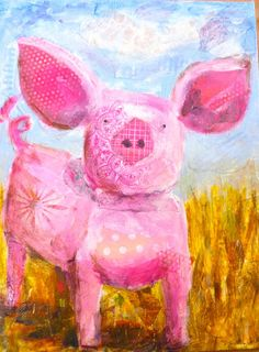 cute painting with layer of printed paper