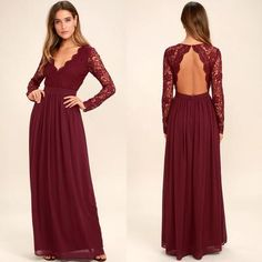 Inexpensive Long Sleeve Burgundy V-Neck Lace Opren-Back Bridesmaid Dresses, D1082