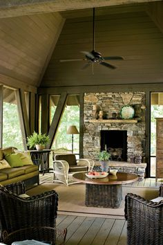 Natural Georgia Lake House Keep the color palette in tune with the surroundings to blur the distinction between indoors and out. See more of this Natural Georgia Lake House