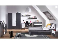 Features: Grey and white finish Modern design Panel bed style Pieces Included: Bed;Wardrobe Colour: Grey/Black Upholstered: No Upholster 5 Piece Bedroom Set, Kids Bedroom Sets, Single Bedroom, Dcor Design, Modern Design, Bed Styling, Bedroom Storage, Bed Sizes, Bedroom Furniture
