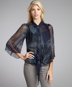 Aryn K navy and teal silk tie detail button front blouse | BLUEFLY up to 70% off designer brands