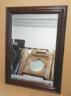 """Large Solid Wood """"31x43"""" Rectangle Beveled Framed Wall Mirror"""