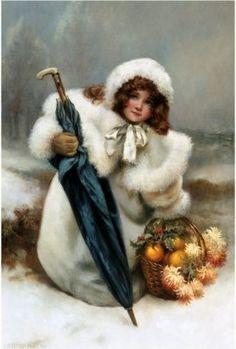 Little girl in a white coat