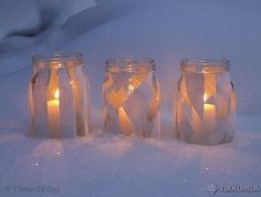 DIY a candle lantern in a jar Blue Christmas, Christmas 2014, Candle Lanterns, Candles, Bottles And Jars, Christmas Inspiration, Home Deco, Candle Holders, Recycling