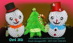 Tutorial Snowman 3D Origami - Hướng dẫn xếp người tuyết Origami 3D