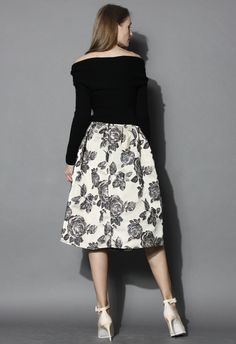 Glowing Rose Intarsia Midi Skirt - Skirt - Bottoms - Retro, Indie and Unique Fashion